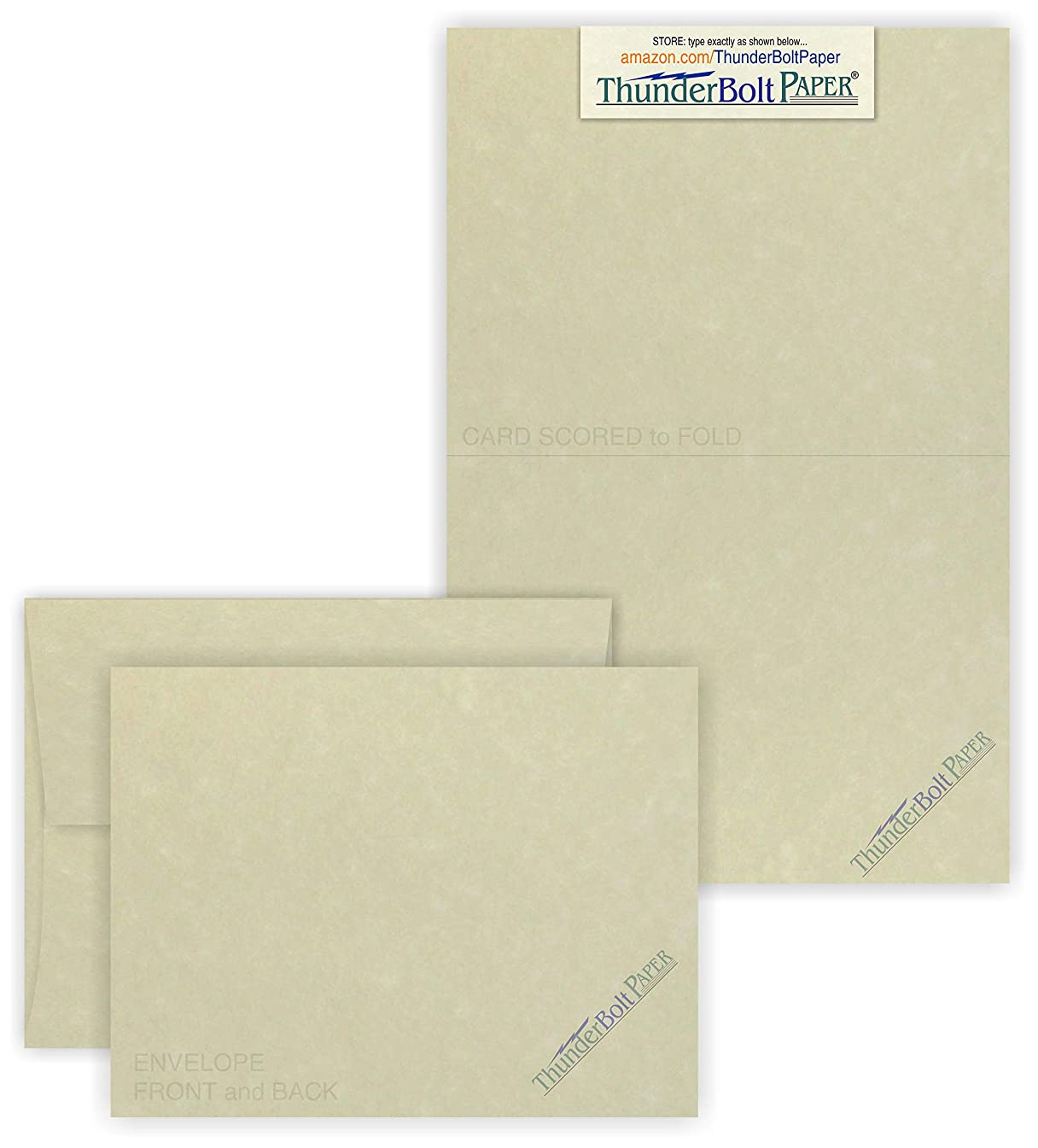 5X7 Folded Size with A-7 Envelopes - Natural Off White Parchment - 25 Sets (10X7 Cards Scored to Fold in Half) Matching Pack - Invitations, Greeting, Thank You, Notes, Holidays, Weddings, Birthdays,