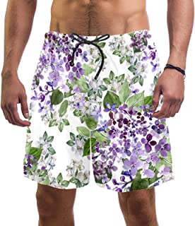 henghenghaha Mens Swim Shorts Waterproof Quick Dry Beach Shorts with Mesh Lining,Beautiful Lilac