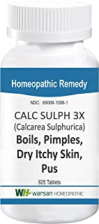 Calc SULPH - Boils, Pimples, Dry Itchy Skin & Pus Relief. Tissue Salts. Tablets (3X)