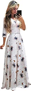 Women V Neck Floral Maxi Long Dress-3/4 Sleeve Plus Size Wrap Floor Length Dress