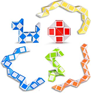 Ganowo Magic Snake Cube Mini 6 Pack-24 Blocks Twist Puzzle Collection Brain Teaser Toy Snake Ruler Fidget Toys Sets for Kids Halloween Party Favors Goodie Bags Fillers Game Geometric