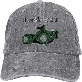 Unisexo Gorras de béisbol/Sombrero, I Love My Tractor Cowboy Cap Adjustable Trucker Baseball Hats Gray