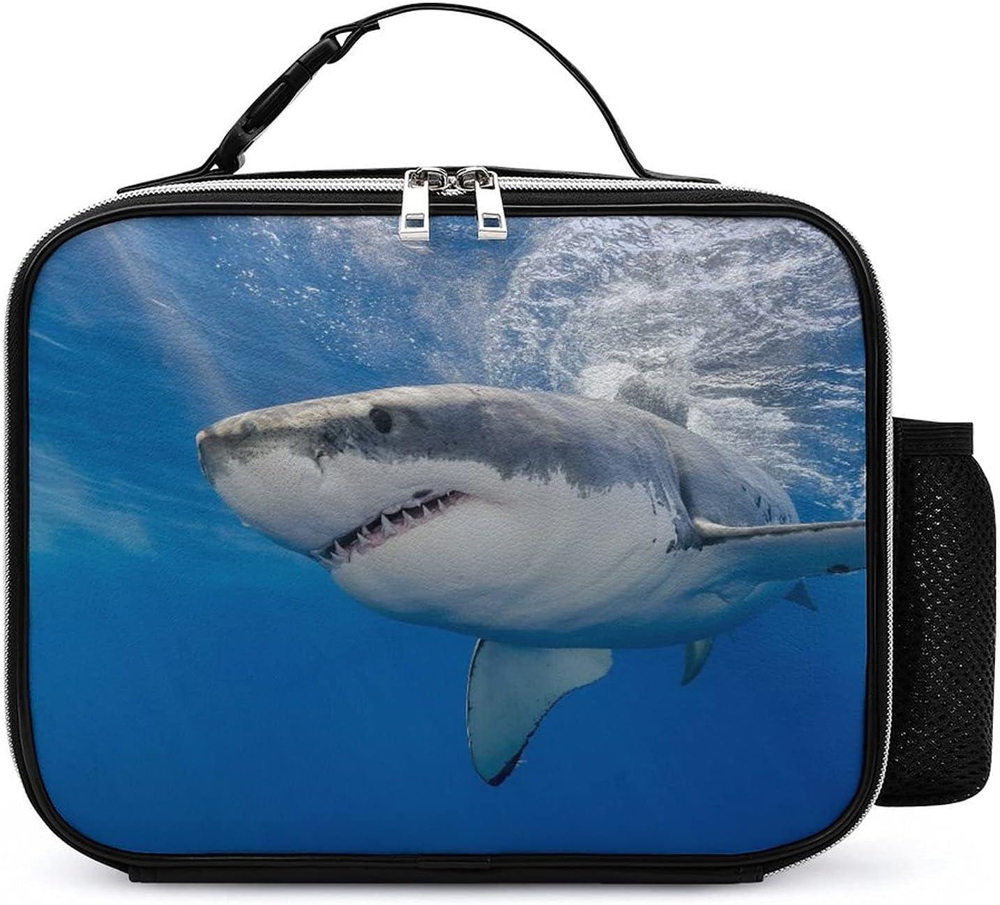 Fiambrera Gran Tiburón Blanco Carcharodon Carcharias Bajo El Agua En La Isla Guadalupe México Bolsa Contenedor De Comida Para Niñas, Niños, Mujeres Y Hombres