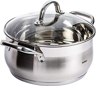 Bergner Gourmet 2 BG6556 Casserole Dish With Lid, Silver, 24 cm, 18/10 Stainless Steel