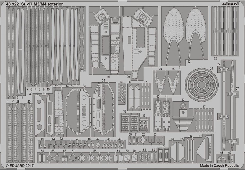 Eduard Photoetch 1 48  Su17 M3 M4 Exterior (Kittyhawk)