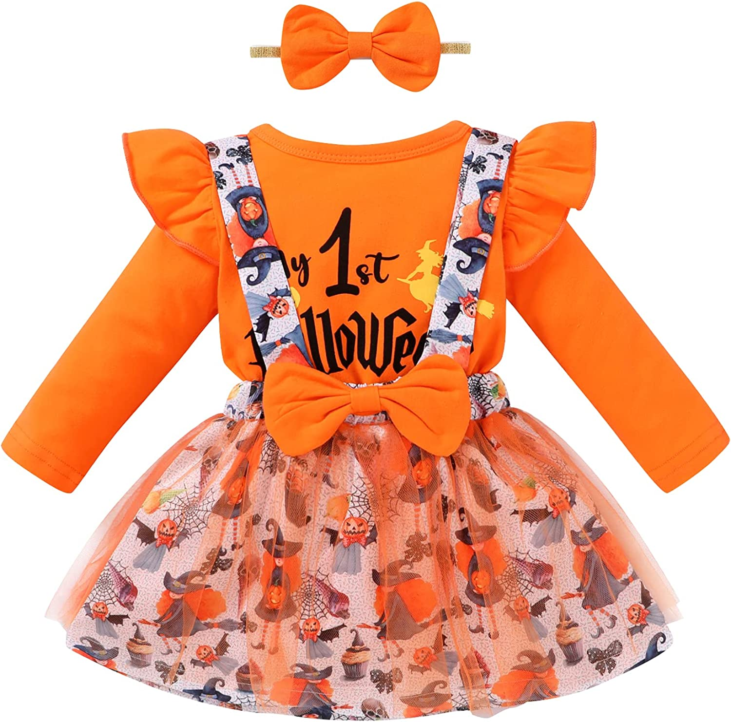 Halloween Newborn Infant Baby Girl Outfit My 1st Halloween Romper Top Bowknot Suspender Skirt Clothes Set with Headband
