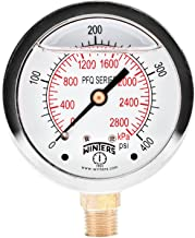 Winters PFQ Series Stainless Steel 304 Dual Scale Liquid Filled Pressure Gauge with Brass Internals, 0-400 psi/kpa,2-1/2