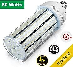 UL DLC 60W LED Corn Light Lamp Replace 250W Metal halide HPS Street Tennis Court Parking Lot Light 5,000K Daylight E26 Medium Base