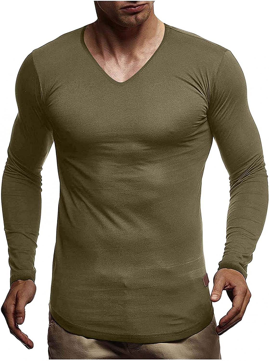 Shirts for Men Men's Autumn And Winter Casual Base Solid Color V Neck Long-Sleeved Shirt Fashion Blouse Polo Mens Shirts