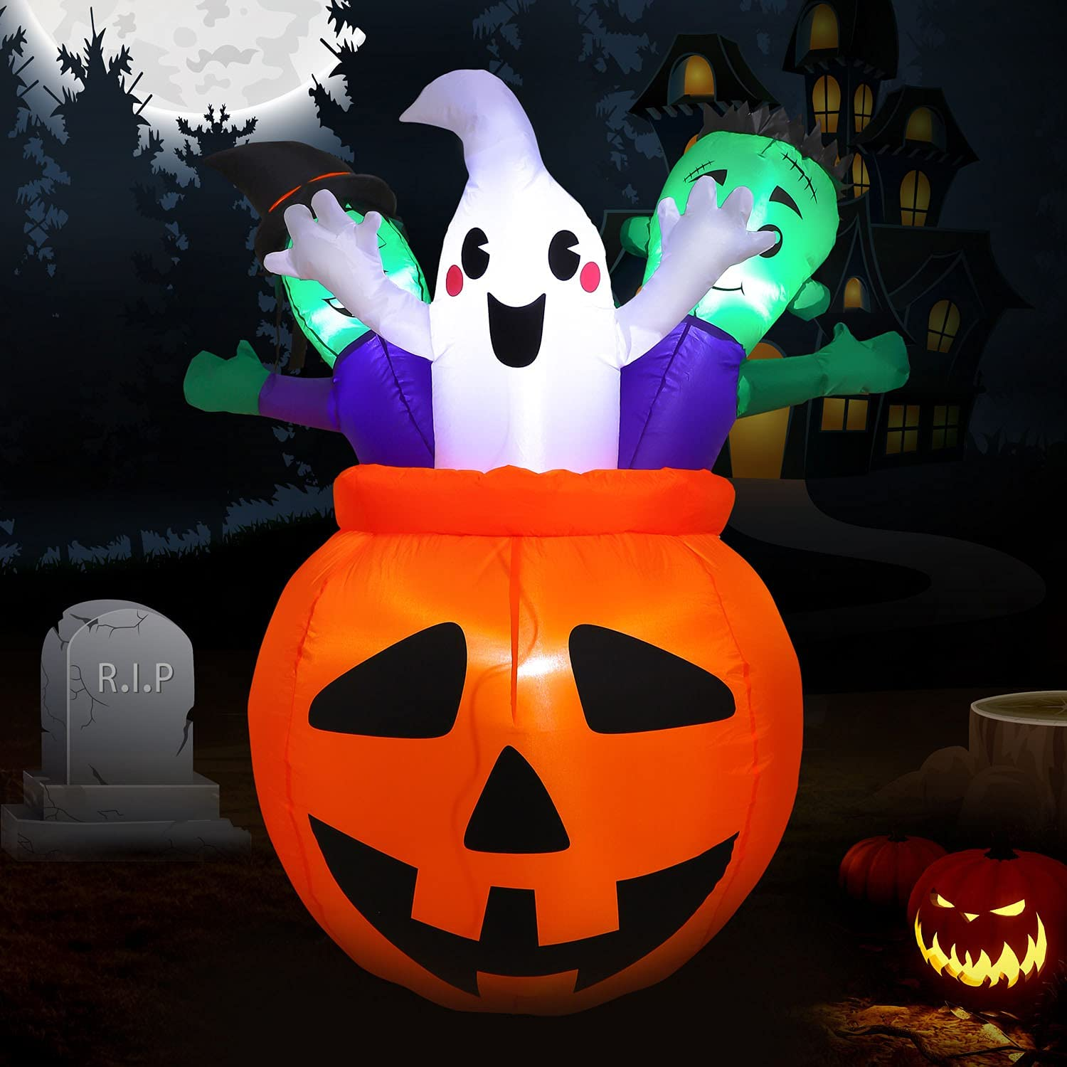 WEFINDER Fashionable 5FT Tall Halloween Inflatable Pumpkin with 3 Cute Ghost Wholesale