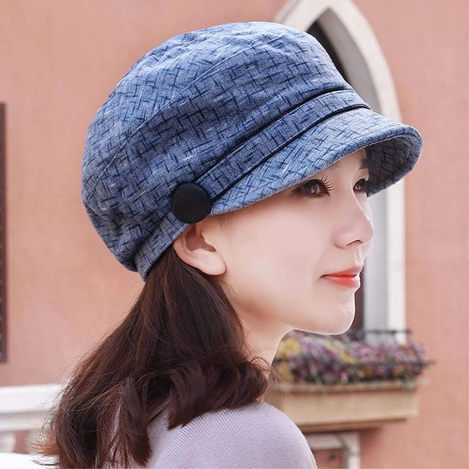 Chuiqingnet The spring and summer new stamp hard hat along the thin beret cap outdoor hat elderly cap mother cap wife Cap