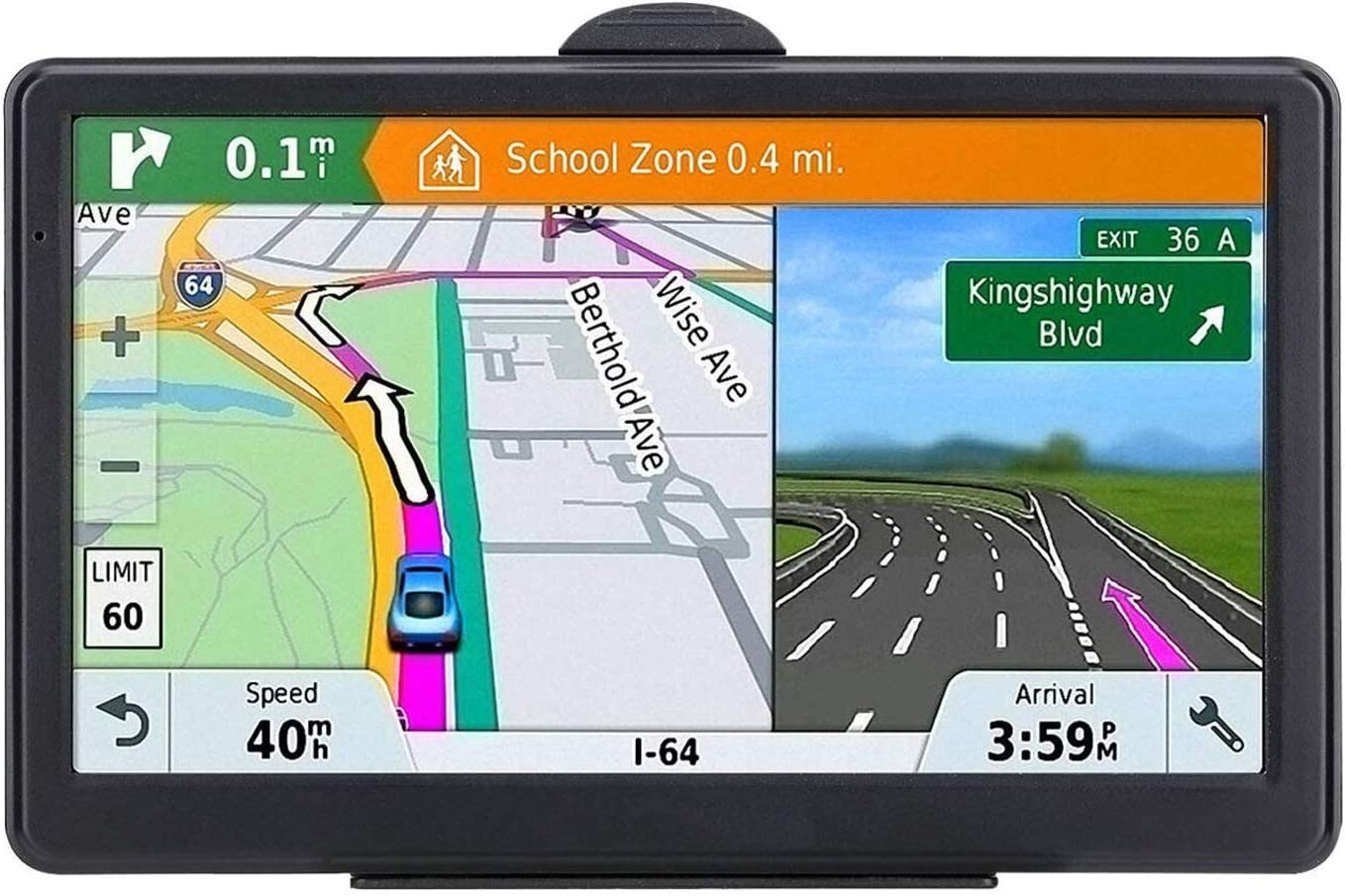MANVY 7 inch GPS Navigation for Car Truck with 2021 Americas Map Free Lifetime Map Update Includes Postcodes and POI Speed Cam Alerts Lane Assist Guidance