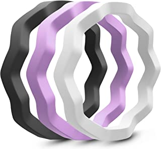 Designed Twisty Silicone Wedding Ring for Women-Stackable Thin Rubber Wedding Bands- 3 Pack -3mm Wide/9 Colors