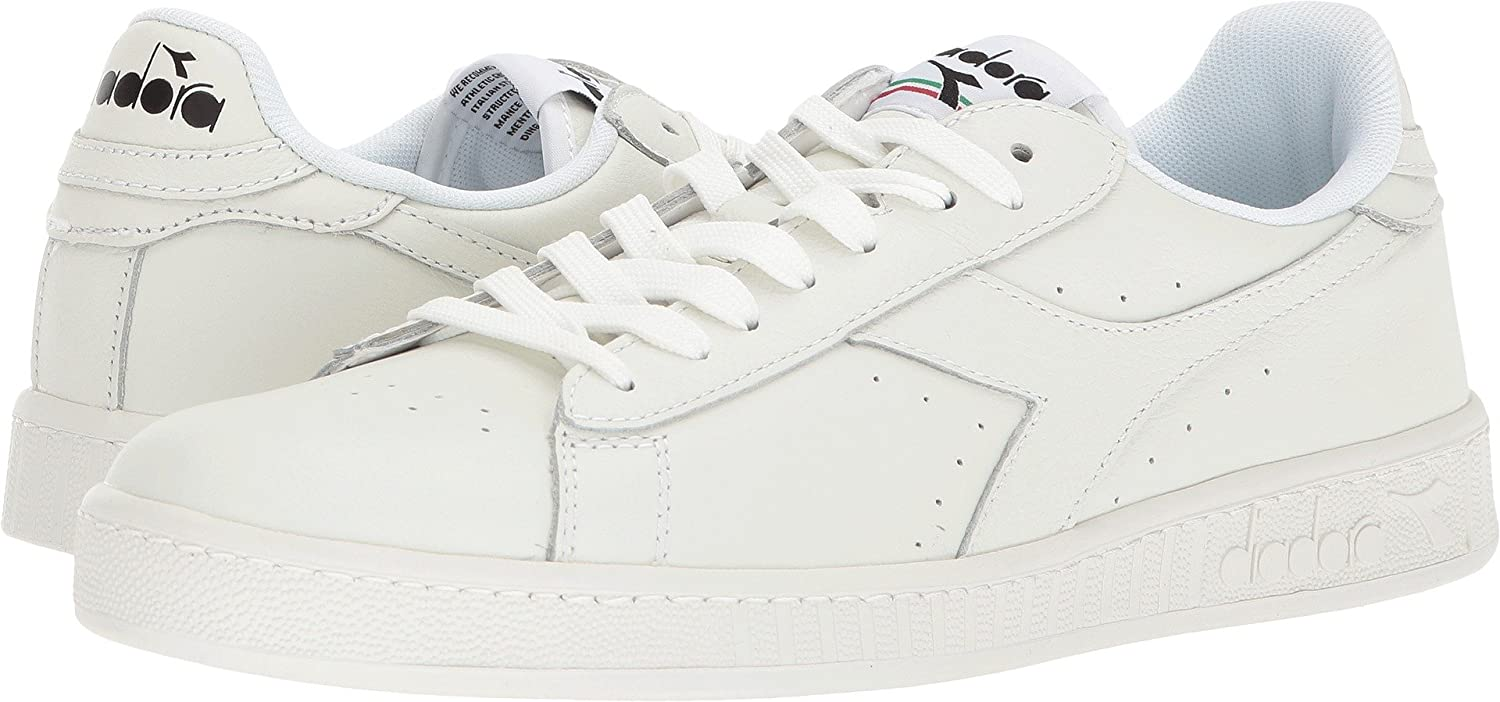 Diadora Men's Game L Low White White Black 4 M US