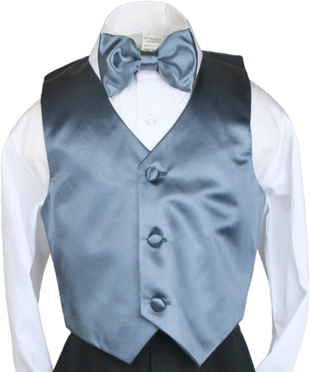 Unotux 2pc Boys Satin Dark Gray Vest and Bow tie Set from Baby to Teen