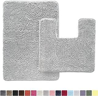 GORILLA GRIP Original Shaggy Chenille 2 Piece Bath Rug Set, Includes Square U-Shape Contour Toilet Mat & 30x20 Carpet Rug, Machine Wash/Dry Mats, Plush Rugs for Tub Shower & Bath Room, Light Gray
