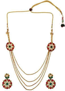 Efulgenz Indian Bollywood Multilayered 14 K Gold Plated Wedding Bridal Temple Necklace Earrings Jewelry Set