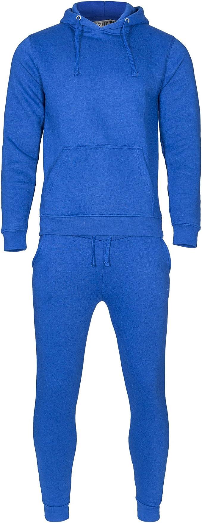 Highliving Unisex Plain Hooded Tracksuit Set Fleece Hoodie Top Bottoms Jogging Joggers Gym