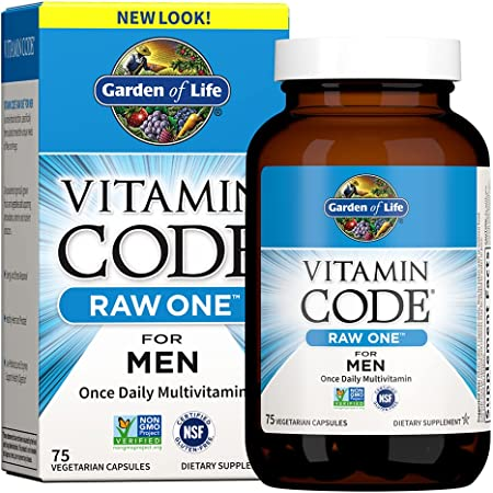 Garden of Life Multivitamin for Men, Vitamin Code Raw One for Men - 75 Capsules, Once Daily Mens Vitamins plus Fruit, Veggies & Probiotics for Mens Health, Vegetarian One a Day Mens Multivitamins