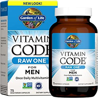 Garden of Life Multivitamin for Men, Vitamin Code Raw One - Once Daily, Vitamins plus Fruit, Veggies & Probiotics, 75 Count