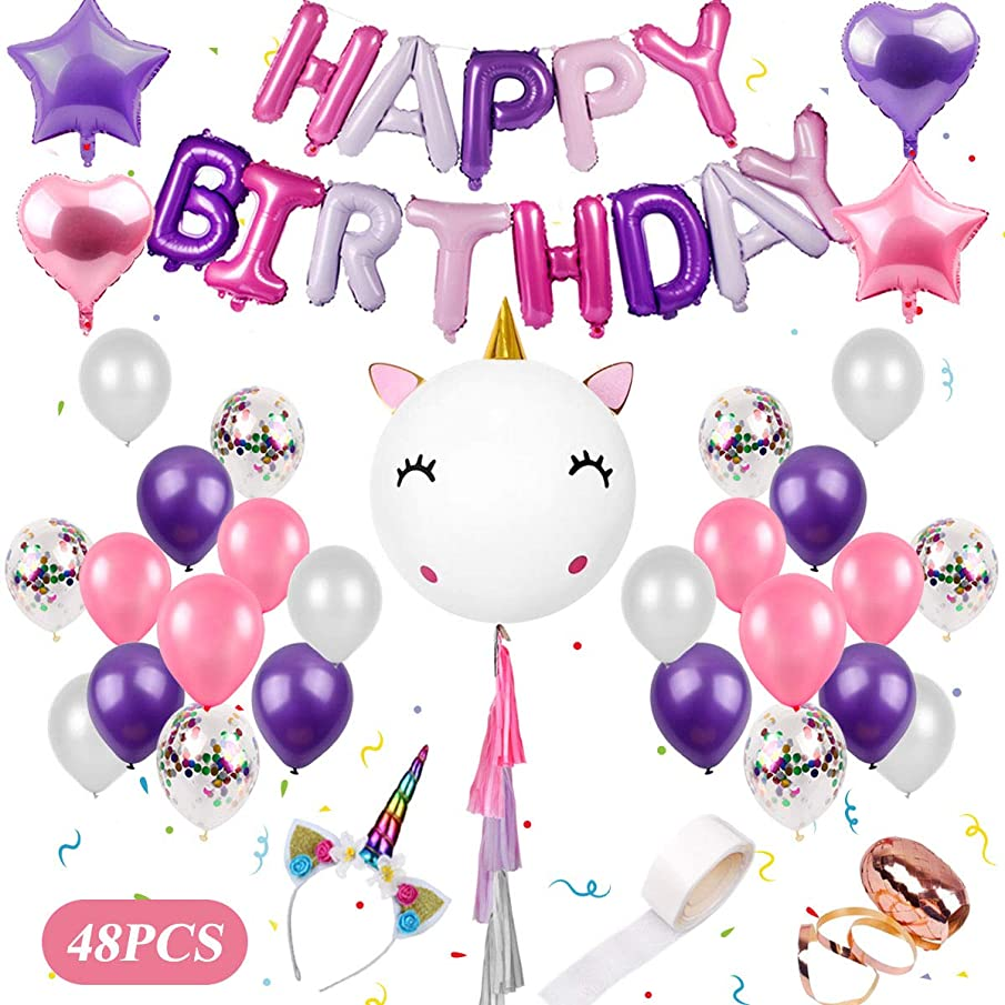 Unicorn Birthday Balloons Party Decorations - 48 Pieces Unicorn Party Supplies Kit | DIY Giant Unicorn Balloons Set Including Unicorn Headband, Happy Birthday Balloons for Girls Unicorn Party Favors