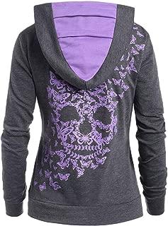 Womens for Hoodies, FORUU Ladies Fashion Butterflies Skull Print Kangaroo Pocket Hooded Sweatshirt