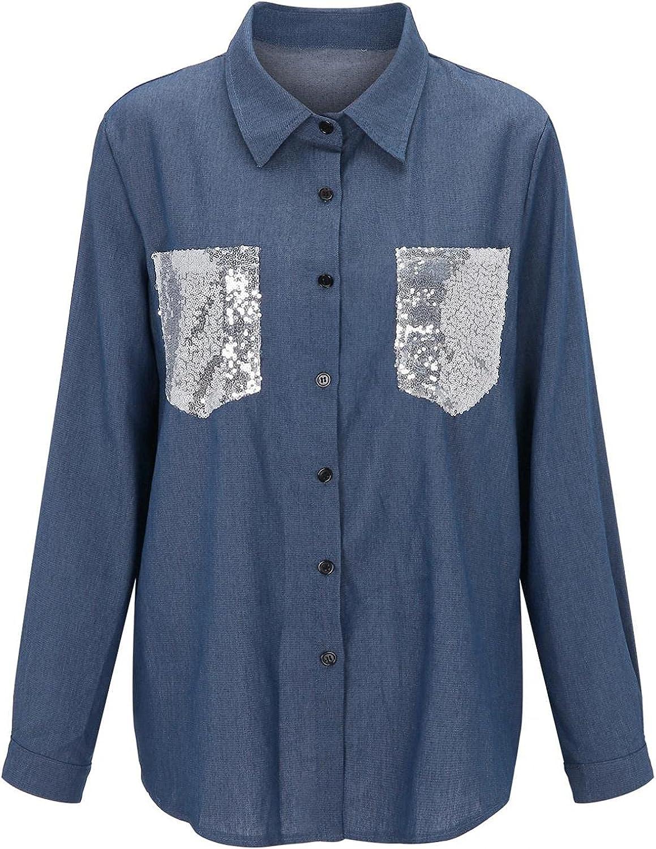 SUIQU Women's Denim Jacket Classic Solid Long Sleeve Lapel Sequin Boyfriend Jean Trucker Jackets Outercoat with Pocket