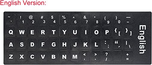 2 PCS English Keyboard Stickers with Non-Transparent Black Background & White Letters for PC/Computer/Laptop [Size of Each Key Sticker: 0.43