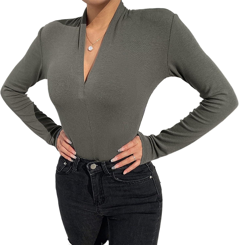 FOCUSNORM Women's Deep V-neck Long Sleeve Bodysuit Solid Color Stretch Bodysuit Top