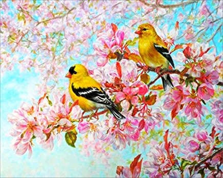 EOBROMD 5D Diamond Painting, DIY Full Drill Paint with Diamonds Embroidery Wall Sticker for Wall Decor, Bird Perching on The Tree 12x16inch