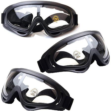 HONGCI Lot de 3 paires de lunettes de sécurité, anti-buée et protection UV, lunettes de protection de sécurité, lunettes de sécurité pour enfants Nerf, construction, bricolage, laboratoire, soudage, chimie, usage personnel