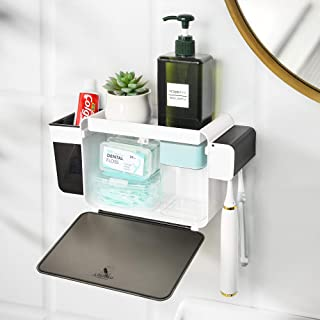 YOHOM Toothbrush Holder Wall Mounted Shower Caddy Bathroom Storage Adhesive with Dustproof Covered Lid Multifunctional Org...