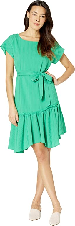 Short Sleeve Asymmetrical Ruffle Hem Belted Dress
