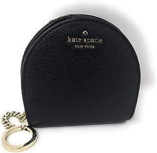 Kate Spade New York Half Moon Wallet Coin Purse Key Ring Chain Black