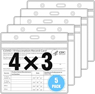 5 Packs - Vaccine Card Protector Waterproof , 4 X3 Inches CDC Vaccine Card Holder, Plastic Clear Vaccination Card Protecto...