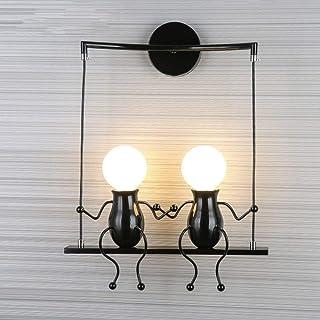 FSTH Creativo Lámparas de Pared Simple Fashion Doll Swing Lámpara de Pared Moderna Apliques de Pared Metal Lámpara de Pared para Dormitorio, Escalera, Pasillo, Restaurante, Cocina E27 (Negro-2)
