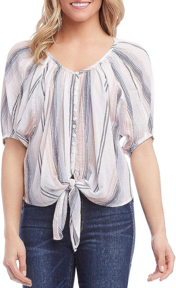 Karen Kane Women's Stripe Tie-Front Top