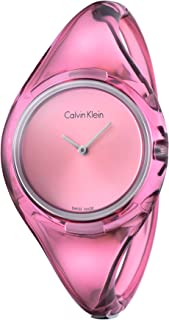 Calvin Klein Womens Quartz Watch, Analog Display and Plastic Strap