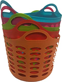 Assorted Colors Leightweight Storage Organizer Handle Basket, Set of 5
