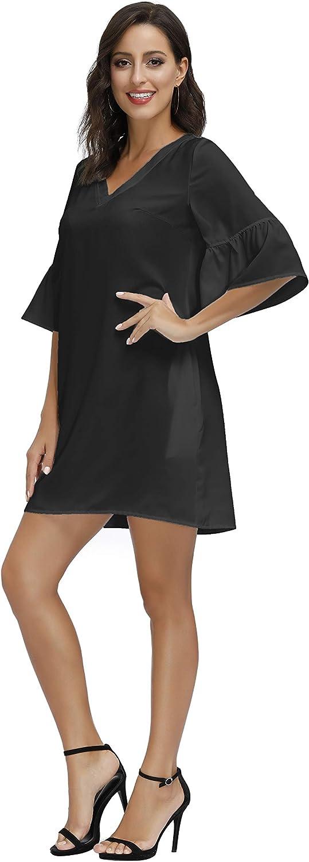 BUENOS NINOS Women's Floral Dress V Neck Half Length Bell Sleeve Causal Loose Shift Mini Tunic Dress with Pockets