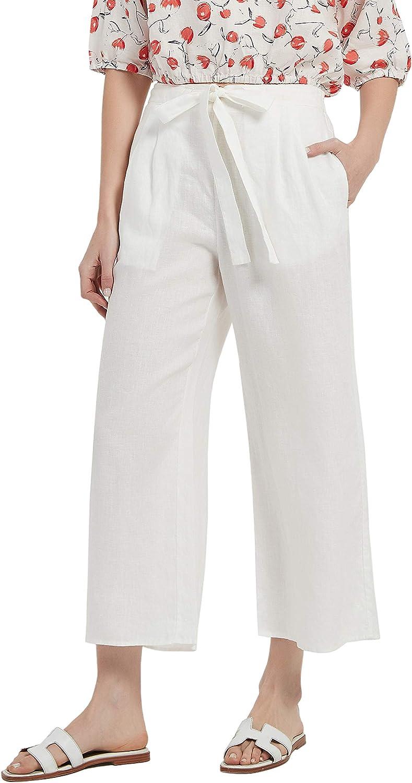 PACIBE Women's Summer 100% Linen Casual Elastic Waist Wide Leg Crop Pants with Pockets