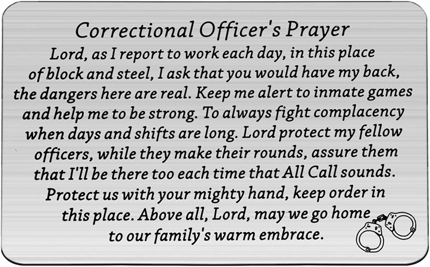 CHOORO Correctional Officer Prayer Max 66% OFF Card Insert New product type Wallet Correction