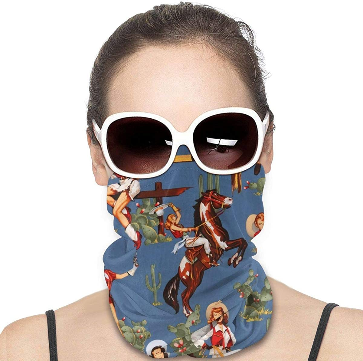 JinSPef Neck Gaiters for Men - Sexy Lady Cowgirl Western Girl Motorcycle Mask Ski Mask Face Scarf Head Bands Neck Warmer Men Headband Neck Gaiter