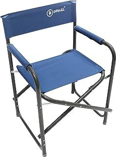 Homecall - Silla de camping plegable de acero con respaldo (azul)