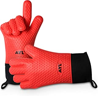 AYL BBQ Silicone Cooking Gloves - Heat Resistant Extra Long Oven Mitt for Grilling, Kitchen - Safe Handling of Pots and Pans - Cooking & Baking Non-Slip Potholders - Internal Protective Cotton Layer