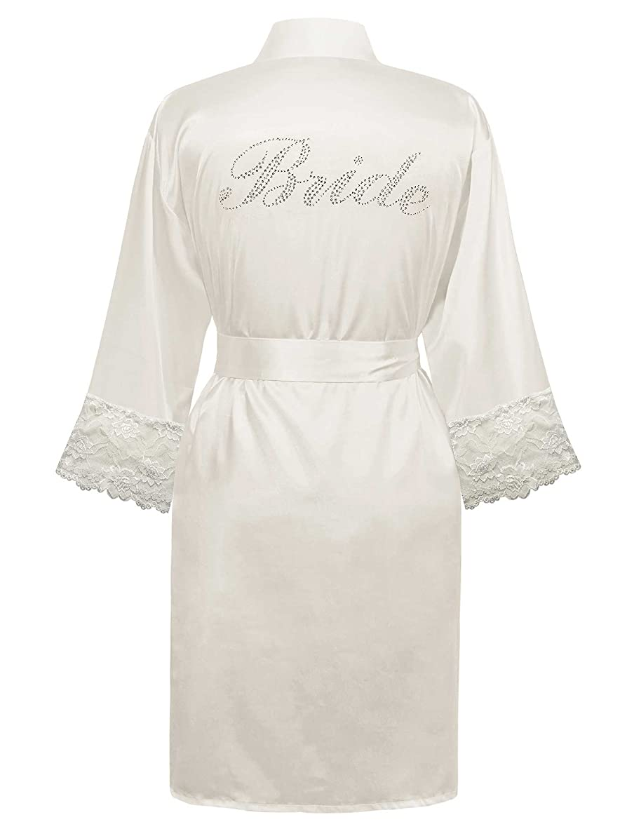 Swhiteme Bridal Robe with Lace Trim, 3/4 Sleeves
