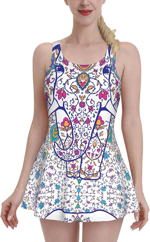 ZXZNC Beautiful Mandala India Elephant Arabic Kaleidoscope Swimdress Swimsuits for Women