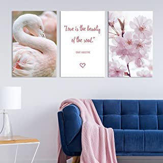 wall26 - 3 Panel Canvas Wall Art - Pink Cherry Blossom, Flamingo and Inspirational Quotes - Giclee Print Gallery Wrap Modern Home Decor Ready to Hang - 16