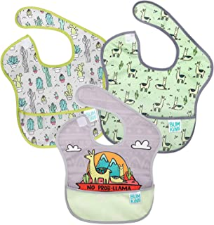 Bumkins SuperBib, Baby Bib, Waterproof, Washable, Stain and Odor Resistant, 3 Piece Pack, Llama and Cactus, 6-24 Months