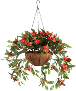 Fully Assembled Impatiens Hanging Basket – Large Artificial Flower Outdoor or Indoor Decoration with Hook - Orange